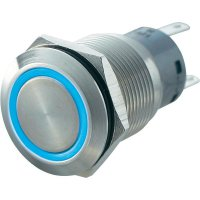 Tlačítko s ochranou proti vandalismu s kruhovým osvětlením, 2x zap/(zap), 5,5 N, modrá