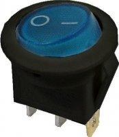 Vypínač kolébkový ON-OFF 1p.250V/6A modrý s doutnavkou