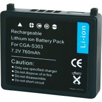 Li-Ion akumulátor pro videokameru Panasonic CGA-S303, 7,2 V, 1000 mAh, černá