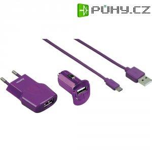 Sada USB nabíječek HAMA Picco, fialová