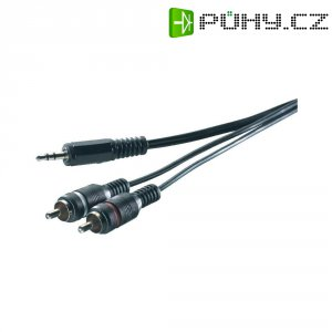 Připojovací kabel SpeaKa, jack zástr. 3.5 mm/cinch zástr., černý, 5 m