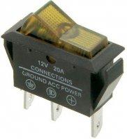 Vypínač kolébkový OFF-ON 1pol.12V/20A,žlutý