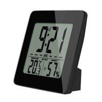 Teploměr TE12B černý, teplota, vlhkost, budík, LCD displej, černý rámeček SOLIGHT
