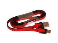 Kabel USB - Micro USB plochý červený 80 cm CPA
