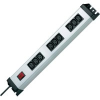 Zásuvková lišta Kopp se spínačem, 9 IEC zásuvek, stříbrná