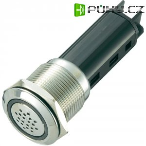 Sirénka / kontrolka, 80 dB 24 V / DC, 19 mm, zelená/stříbrná