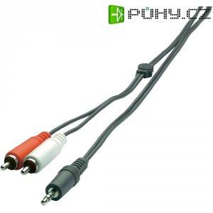 Připojovací kabel SpeaKa, jack zástr. 3.5 mm/ 2x cinch zástr., černý, 2 m