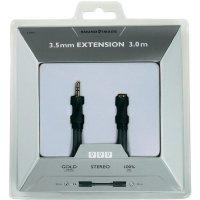 Audio kabel Sound & Image, jack zástr. 3.5 mm/jack zásuv. 3.5 mm, černý, 3 m