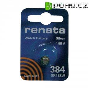Knoflíková baterie na bázi oxidu stříbra Renata SR41, velikost 384, 45 mAh, 1,55 V