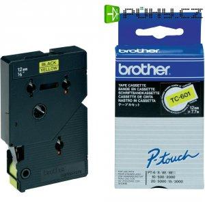 Páska do štítkovače Brother TC-601, 12 mm, TC, 7,7 m, černá/žlutá
