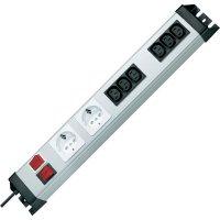 Zásuvková lišta Kopp se spínačem , 2 sí´tové zásuvky, 6 IEC zásuvek, stříbrná