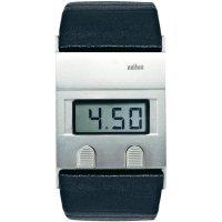 Digitální náramkové hodinky Braun, kožený pásek