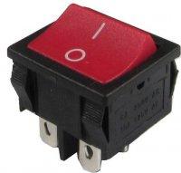 Vypínač kolébkový ON-OFF 2pol.250V/6A červený