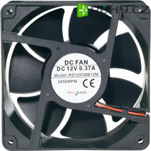 Voděodolný axiální ventilátor, RD12038B24L, 24 V, 34 dBA, 120 x 120 x 38 mm