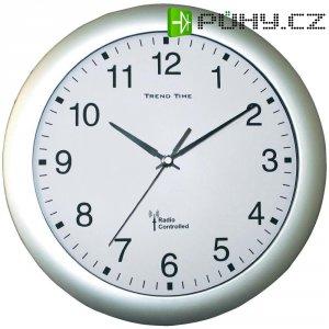 Analogové DCF nástěnné hodiny, 56780, Ø 30 x 4,5 cm, stříbrná