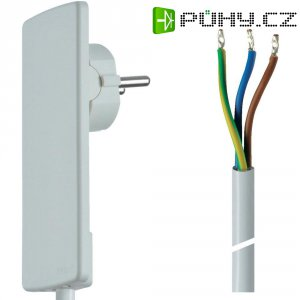 Síťový kabel Schulte Elektrotechnik, plochá zástrčka/otevřený konec, 1,5 m, bílá