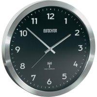 Analogové DCF nástěnné hodiny Eurochron EFWU 2601, Ø 38 cm, hliník, černá
