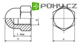 Šestihranné uzavřené matice DIN 1587 Polyamid M4, 10 ks