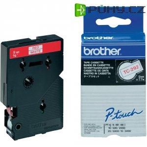 Páska do štítkovače Brother TC-292, 9 mm, TC, 7,7 m, červená/bílá