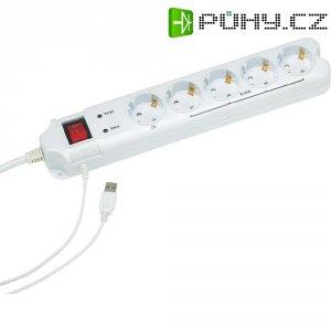 Zásuvková lišta Master-Slave s USB a přepěťovou ochranou Gembird PCW-MS2G, 201010013, 5 zásuvek, bílá