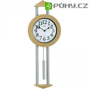 Quartz kyvadlové nástěnné hodiny Mebus 665102, stříbrná, javorová