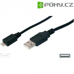 USB kabel, zástrčka USB 2.0 typ A ⇔ zástrčka microUSB 2.0 typ A, 1,8 m, černá