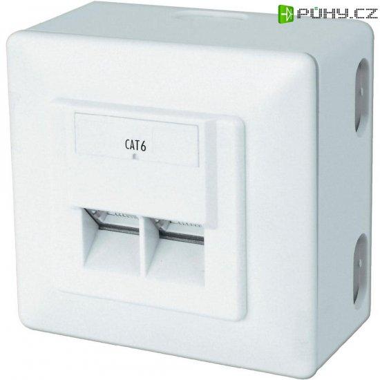 Síťová zásuvka pro povrchovou montáž CAT 6 Digitus, DN-9006/B5-N, 2x RJ45, bílá - Kliknutím na obrázek zavřete