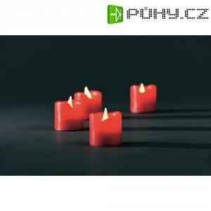 Svítící svíčky Konstsmide, 4,2 x 4,5 cm, červená, sada 4 ks