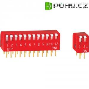 DIP spínač, typ piano, DP-12V, 12pólový, rastr: 2,54 mm