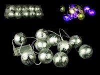Vánoční osvětlení, LED RGB blikající baňky na baterie - střibrné
