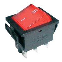 Přepínač kolébkový 2pol./6pin ON-ON 250V/15A červený