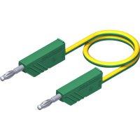 Měřicí kabel banánek 4 mm ⇔ banánek 4 mm SKS Hirschmann CO MLN 100/2,5, 1 m, zelená/žlutá