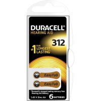 Knoflíková baterie ZA 312, zinek-vzduch, Duracell DA 312, DUR077573, 6 ks