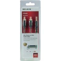 Připojovací kabel Belkin jack zástr. 3,5 mm/cinch, černý, 1 m, pozl.kontakty