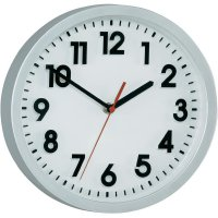 Analogové nástěnné hodiny, Ø 25 x 5 cm, stříbrná