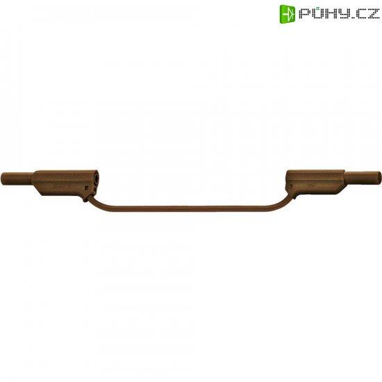 Měřicí silikonový kabel banánek 4 mm ⇔ banánek 4 mm MultiContact XVS-4075, 0,25 m, hnědá - Kliknutím na obrázek zavřete