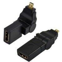 Redukce HDMI(A) zdířka-HDMI(D)-MICRO konektor otočná úhlová