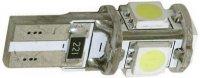 Žárovka LED T10 12V/1,5W ,bílá, CAN-BUS, 5xSMD5050