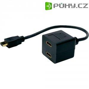 Splitter HDMI vidlice ⇔ 2 HDMI zásuvka, 0,2 m, černý