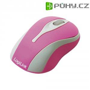 USB myš optika LogiLink Mini myš ID0021, s podsvícením, růžová