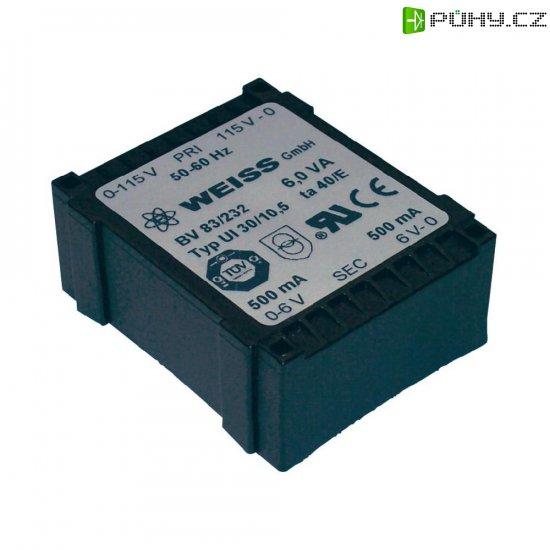 Plochý transformátor Weiss UI 30, 230 V/2x 6 V, 2x 500 mA, 6 VA - Kliknutím na obrázek zavřete