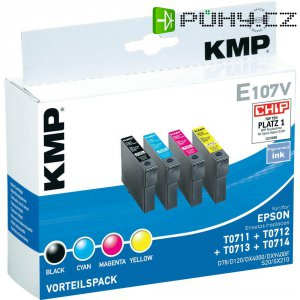 Cartridge KMP E107V, 1607,0005, černá/cyan/magenta/žlutá