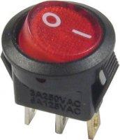 Vypínač kolébkový OFF-ON 1pol.250V/3A červený