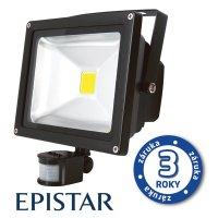 LED reflektor venkovní s PIR 30W/2500lm EPISTAR, MCOB, AC 230V, STUDENÁ, černý