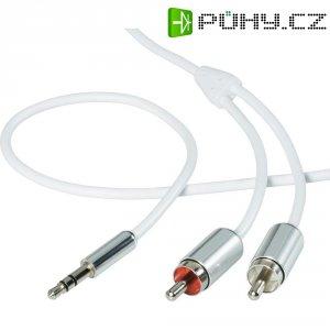 Připojovací kabel SpeaKa, jack zástr. 3.5 mm/2x cinch, bílý, 3 m