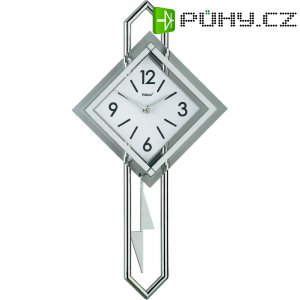 Quartz kyvadlové nástěnné hodiny - pendlovky Mebus 665102, sklo, stříbrná, bílá
