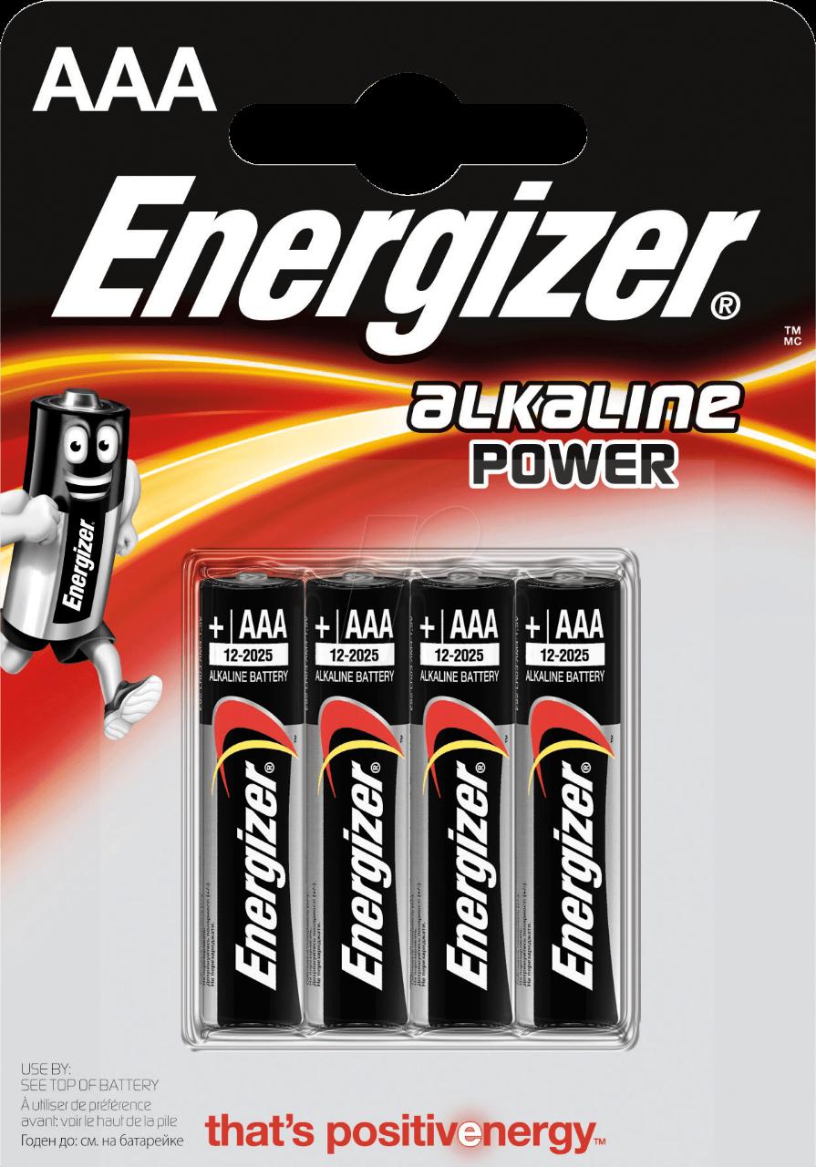 ENERGIZER 4x primární AAA baterie, Alkalické bal. 4ks