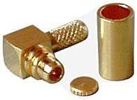 MMCX konektor úhlový lisovací na koax 3mm (RG174)