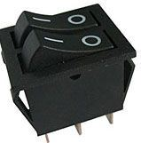 Přepínač kolébkový 2xON-ON 1pol.250V/15A černý