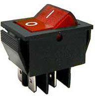 Vypínač kolébkový ON-OFF 2pol.250V/15A červený 1B